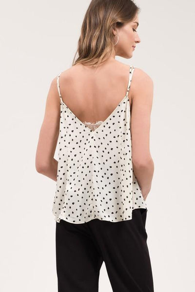 Ivory and Polka dot Lace Trim Camisole - THE WEARHOUSE
