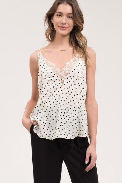 Ivory and Polka dot Lace Trim Camisole
