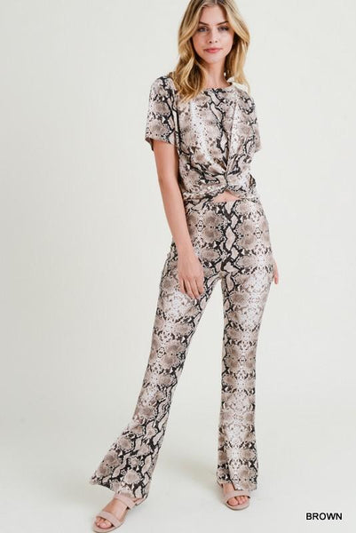 Brown Snake Print High Waisted Leggings