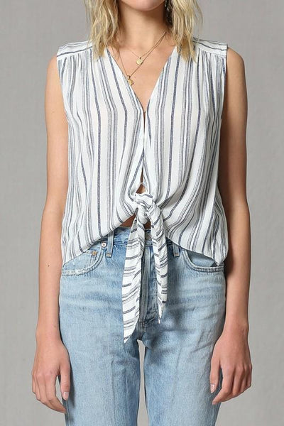 Striped Cream and Navy V Neck Front Tie Top - THE WEARHOUSE
