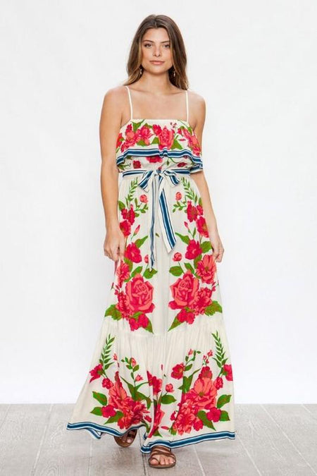 Red Tribal Stripe Geo-print Maxi Dress