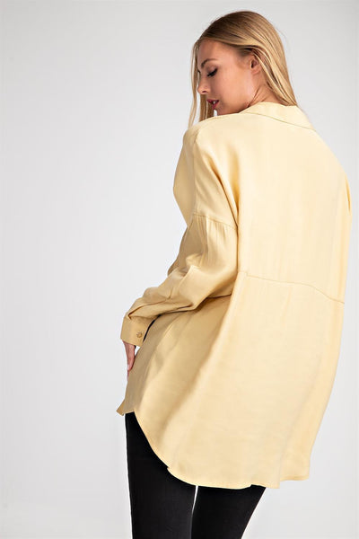 Yellow Oversized Tencel Button Down Top - THE WEARHOUSE
