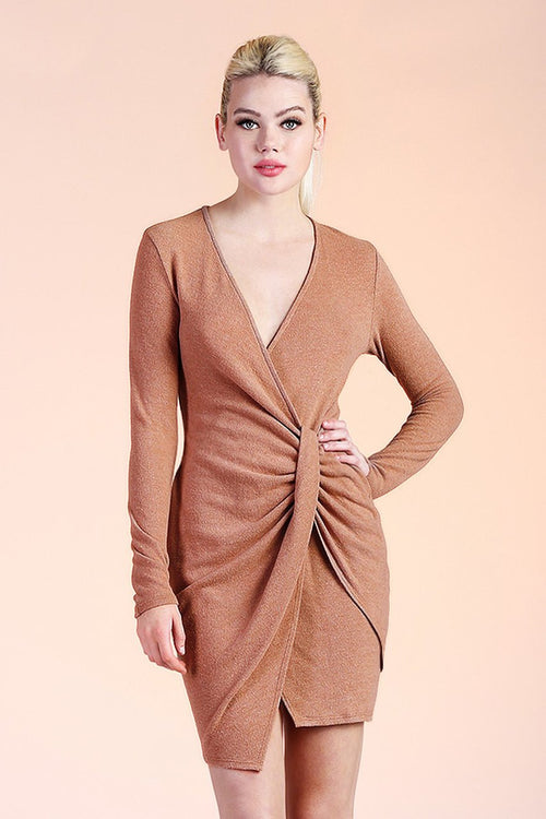Camel Fitted Sweater Dress