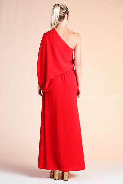 Red One Shoudler Draped Dress