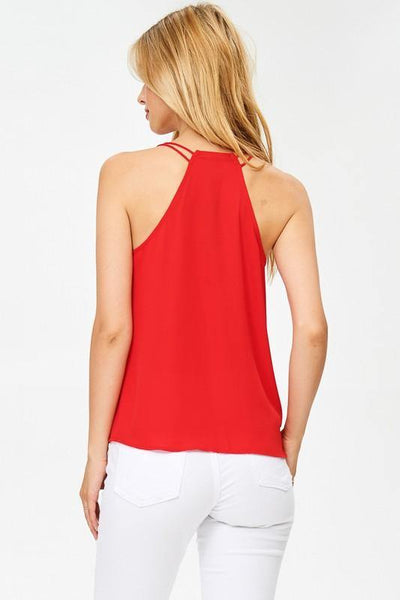 Red V-neck Ruffle Top