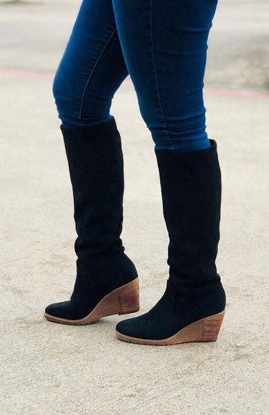Tall Black Suede Boots - THE WEARHOUSE
