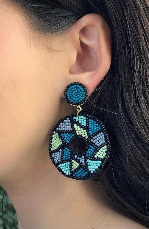 Multi Colored Oval Statement Earrings - THE WEARHOUSE