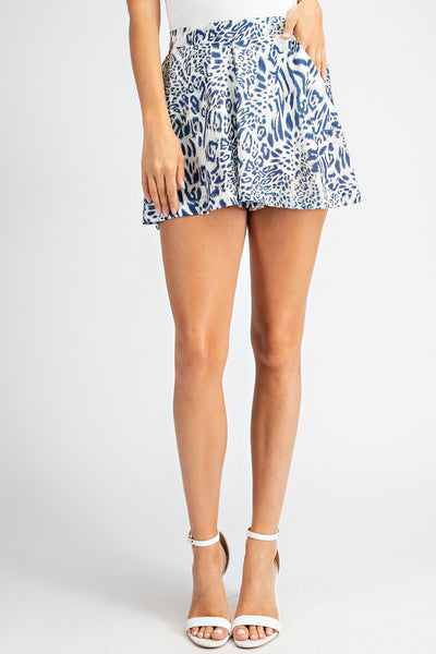 Blue Animal Print Shorts - THE WEARHOUSE