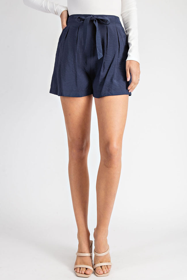 Navy Front Tie Pleated Shorts