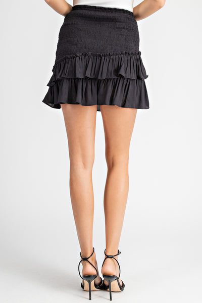 Black Smocked Ruffle Mini Skirt