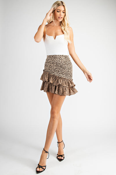Tan Leopard Print Smocked Mini Skirt