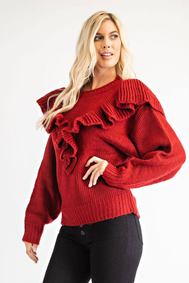 Wine Colored Ruffle Sweater