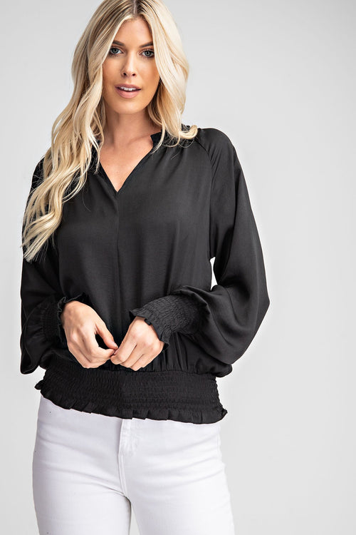 Black Satin Smocked Long Sleeve Top - THE WEARHOUSE