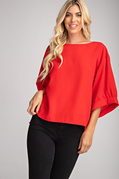 Red Drop Shoulder Blouse - THE WEARHOUSE