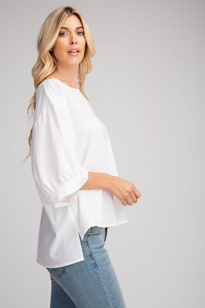 White Drop Shoulder Blouse - THE WEARHOUSE