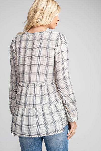 Mixed Media Plaid White Shirt - THE WEARHOUSE