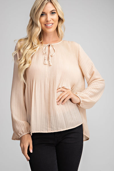 Taupe Broomstick Peasant Blouse - THE WEARHOUSE