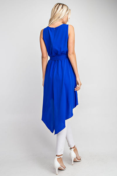 Royal Blue High Low Slit Tank - THE WEARHOUSE