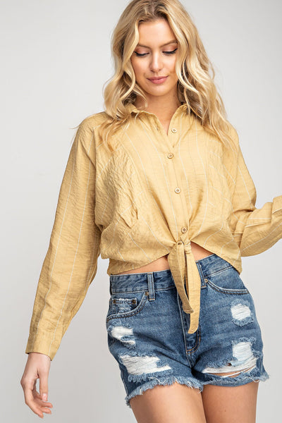 Mustard Tie Front Cropped Long Sleeve Shirt - THE WEARHOUSE