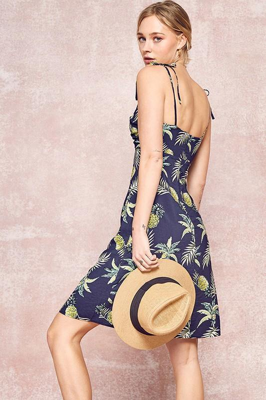 Tropical Pineapple Sleeveless Dress - THE WEARHOUSE