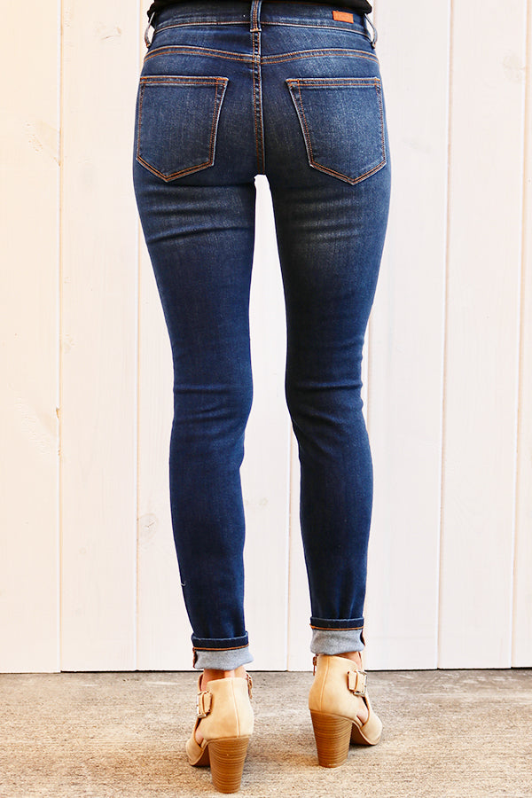 Solid Dark Skinny Denim Jeans - THE WEARHOUSE