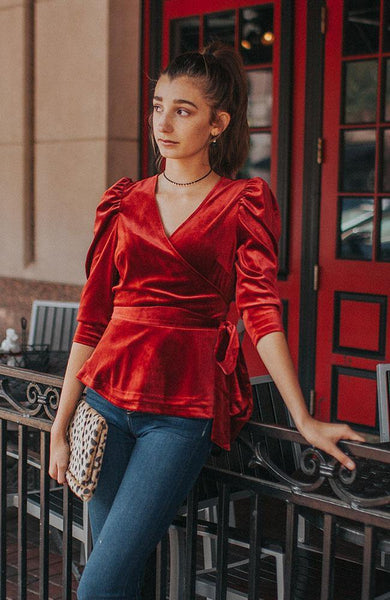 Cinnamon Puff Sleeve Velvet Top