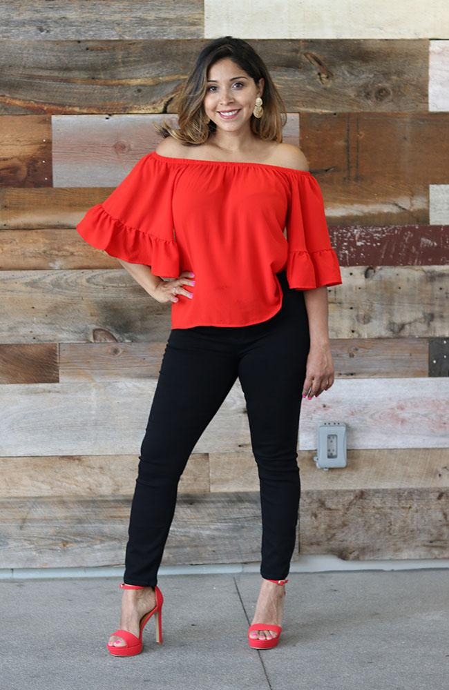 SeÑorita Off Shoulder Red Top