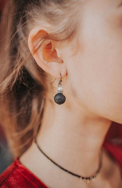 Black and Pearl Detail Earrings - THE WEARHOUSE