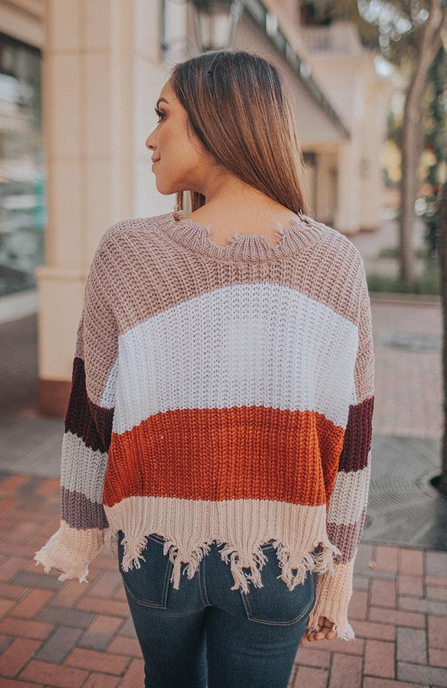Mocha Ivory and Rust Distressed Sweater