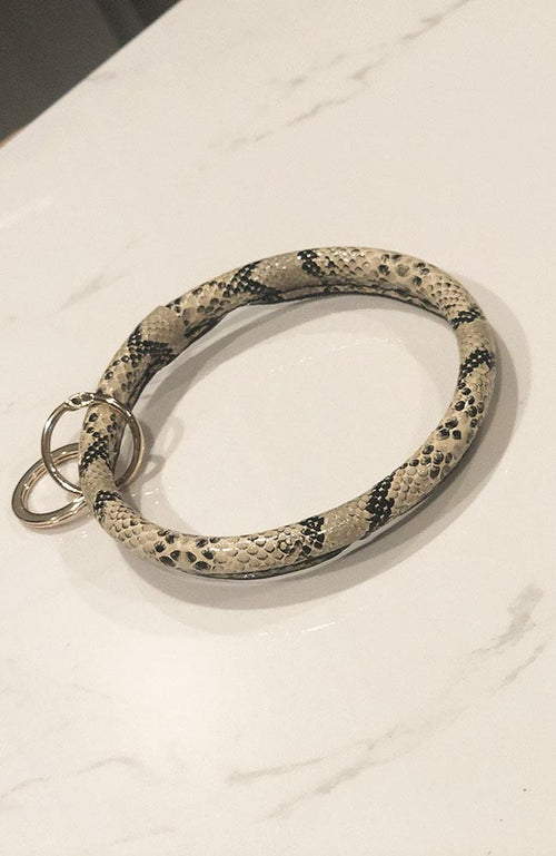 Brown and Black Python Keychain Bracelet
