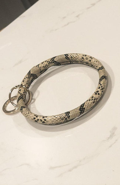 Brown and Black Python Keychain Bracelet - THE WEARHOUSE