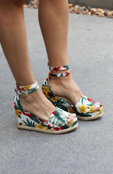 Zenia Floral Ankle Strap Wedge