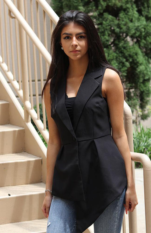 Black Asymmetrical Button Up Vest