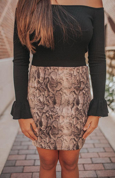 Blush Reptile Short Skirt - THE WEARHOUSE