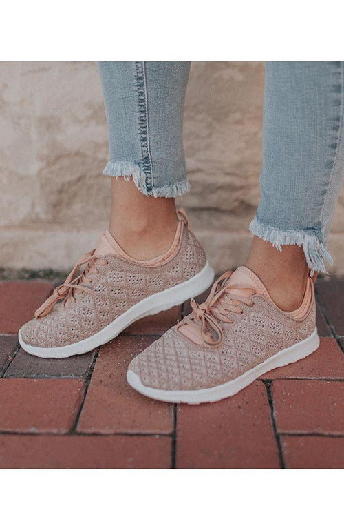 Shimmer Rose Gold Sneakers