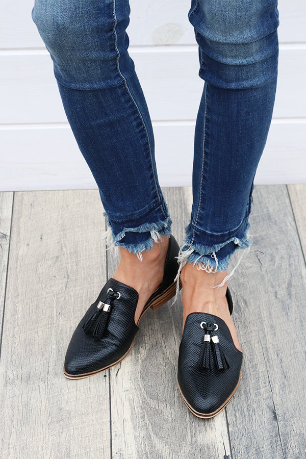 Black Snake Flats with Tassel - THE WEARHOUSE