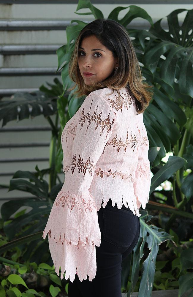 Blush Lace Zip Up Top