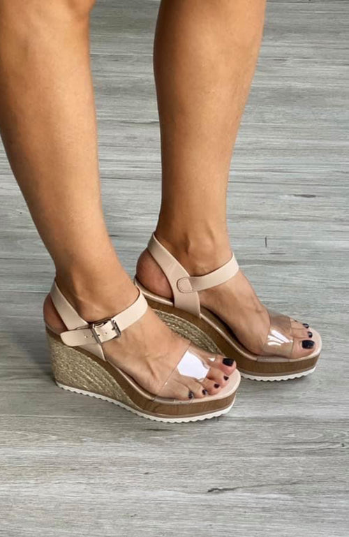 Camila Clear Strap Wedges