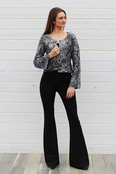 Crushed Velvet Blue Sequin Jacket - THE WEARHOUSE