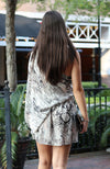 Grey Snake Print Chiffon One Shoudler Dress