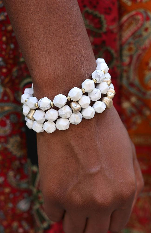 Three Piece Set White and Gold Stone Bracelet