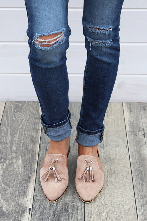 Taupe Flats with Tassel - THE WEARHOUSE