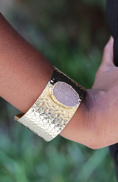 Pink Quartz and Gold Band Bracelet - THE WEARHOUSE