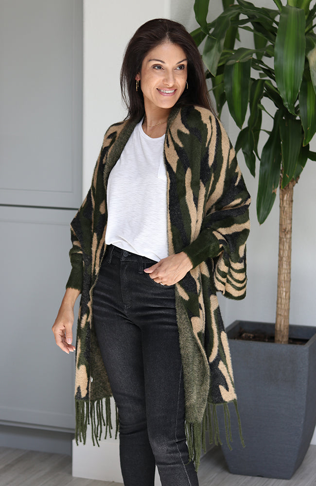 Green and Khaki Camouflage Sleeved Poncho