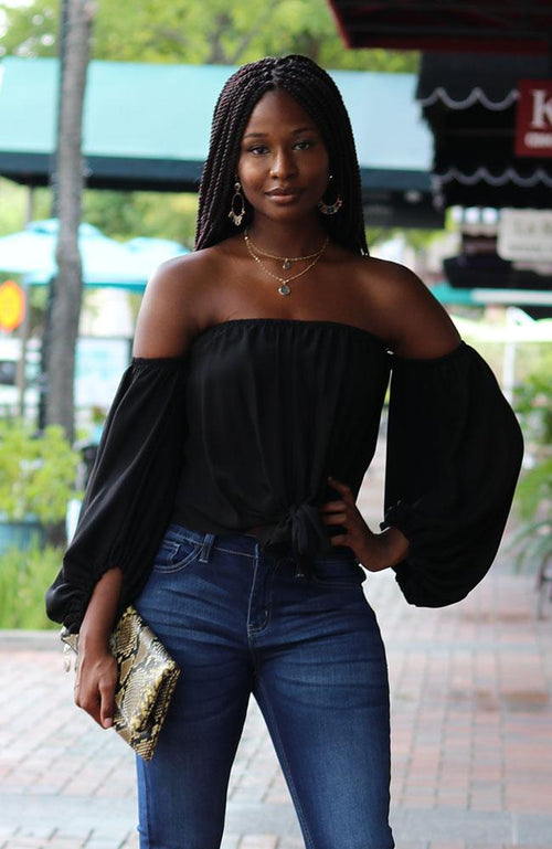 Black Off Shoulder Twist Tie Top