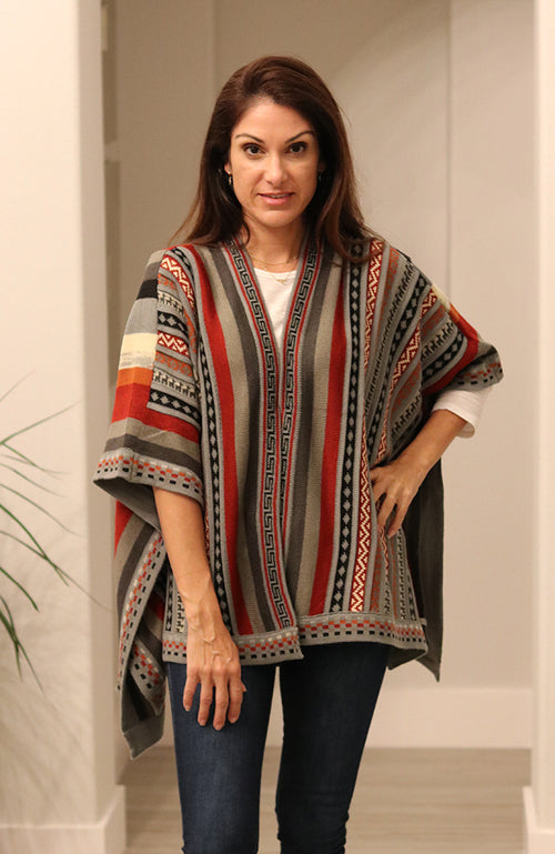 Grey and Red Multi-Colored Poncho