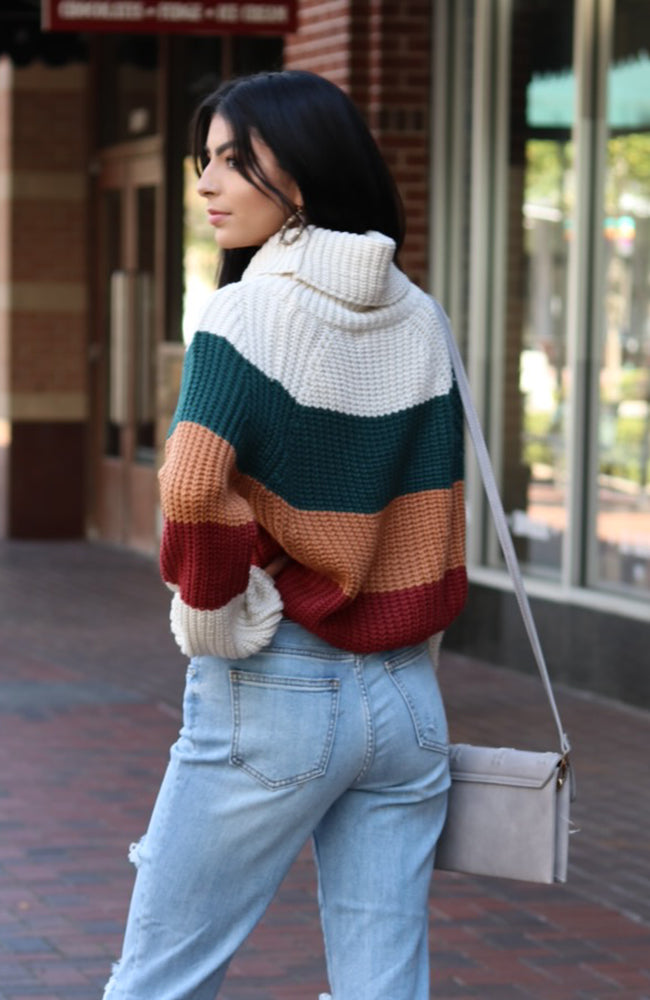 Cream and Green Color Block Turtleneck Sweater