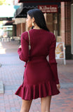 Burgundy Ribbed Knit Dress