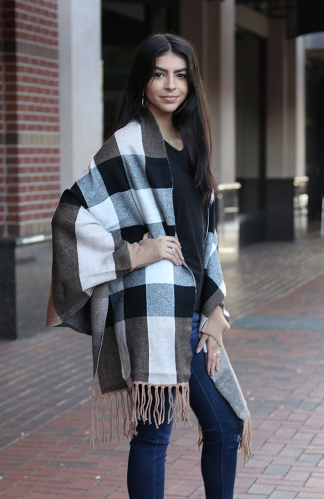 Checkered Red Sleeved Shawl