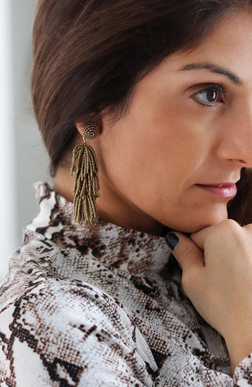 Matte Gold Beaded Earrings - THE WEARHOUSE